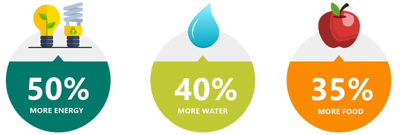 With a population of 8.3 billion people by 2030, we'll need 50% more energy, 40% more water , and 35% more food